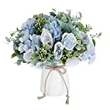 NAWEIDA Artificial Flowers with Vase Faux Flower Arrangements for Table Decor Table Centerpieces for Dining Room-Blue