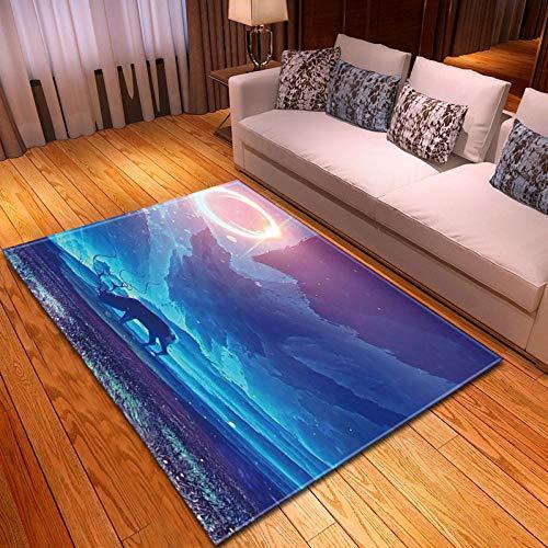 CMYKYUH Alfombra Salon Ciervo Azul Claro de Luna 120 x 170 cm...