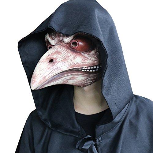 Plague Doctor Latex Mask Lifelike Bird Mask Beak Faux Gothic Retro Costume Props for Halloween