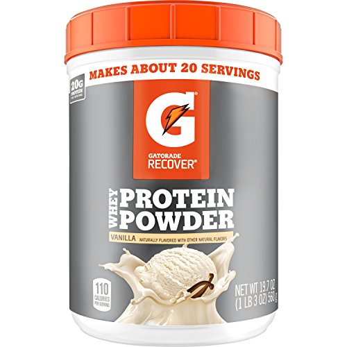 Gatorade Whey Protein Powder, Vanilla, 19.7 Ounce (20 servings per canister, 20 grams of protein per serving)