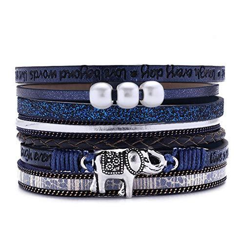 (70% OFF Coupon) Multi Layered Leather Elephant Wrap Bracelet $4.80