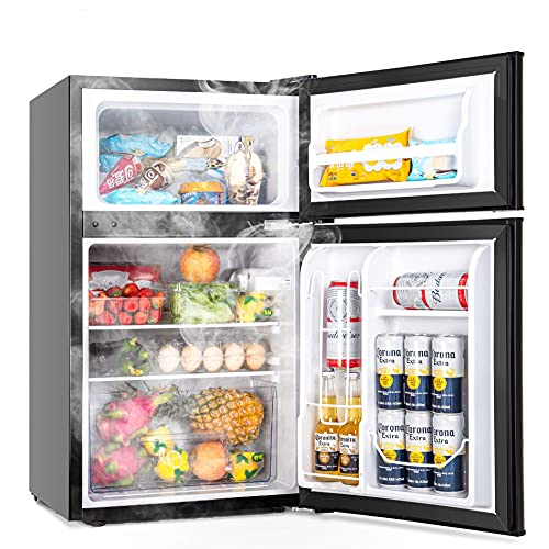 Euhomy Mini Fridge with Freezer, 3.2 Cu.Ft Mini refrigerator with freezer, Dorm fridge with freezer 2 door For Bedroom/Dorm/Apartment/Office - Food Storage or Cooling Drinks(NEW Black).