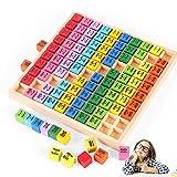 O-Kinee Tabla de Multiplicación, Juego Tablas de Multiplicar, Tablas Multiplicar, ábaco de Madera, Juguete Educativo de matemáticas,Base 10 Matemáticas,Dados de Colores (Color)