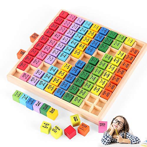 O-Kinee Holz Mathematik Spielzeug,Mathe Lernen Spielzeug,Holzrechenbrett 1x1,Holz Multiplikationstabelle,Rechenbrett Rechnen Lernen,Lernspielzeug Geschenk Kinder