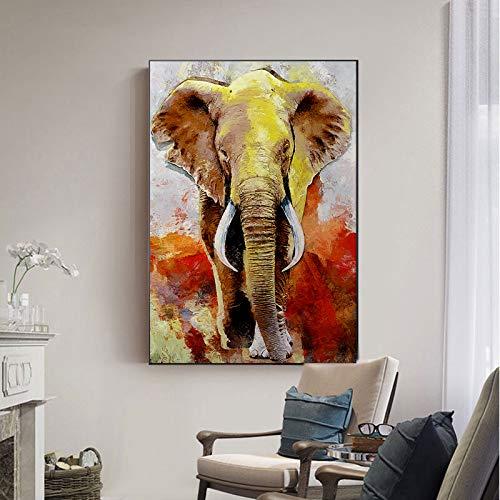 BuhuAZXM Aquarel olifant afbeelding dier canvas schilderij muurkunst voor woonkamer moderne decoratie 70x105cm Geen frame.