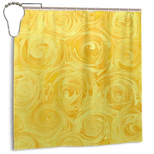 Jacklee Honey Yellow Roses Abstract Duschvorhang 180 * 180cm Anti-Schimmel & Wasserabweisend Shower Curtain mit 12 Duschvorhangringen 3D Digitaldruck