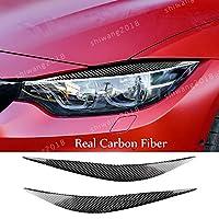 BMW 4シリーズ F32/F33/F36 2012-2017 M3 F80 M4 F82 F83 2014-2016 カーボンファイバーヘッドライトアイリッドアイリッドカバー/ライトアイブロウカバートリム/ランプアイブロウトリム装飾/ライトオーバーアイラインカバー BMW 4シリーズ M3 M4 アクセサリー おしゃれ 2点セット カーボンファイバー