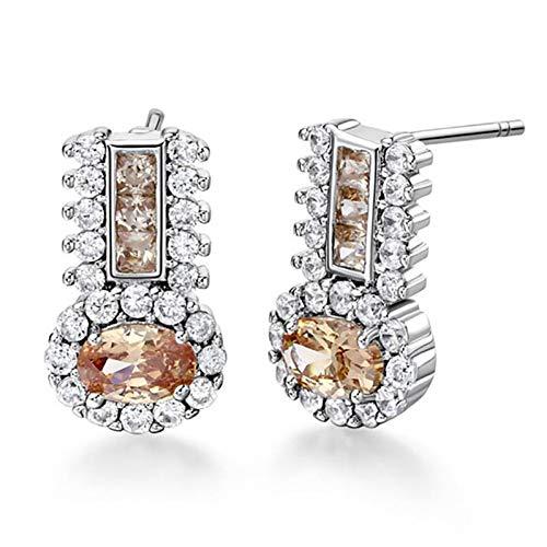 FGFDHJ Pendientes de plata de ley 925, joyas con piedras preciosas de amatista en forma geométrica, pendientes para mujer