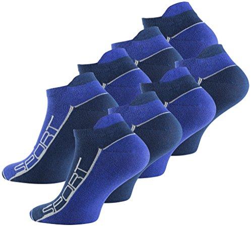 Vincent Creation 8 Paar Sneaker Socken Bi-color mit Hochferse & Sport Schriftzug, Baumwolle mit Elasthan (43/46, Blau)