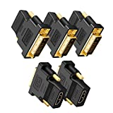 DVI to HDMI Adapter, CableCreation 5-Pack Bi-Directional DVI-D(24+1) Male to HDMI Female Converter, HDMI to DVI Adapter,Support 1080P 3D for PS3,PS4,TV Box,Blu-ray,Projector,HDTV