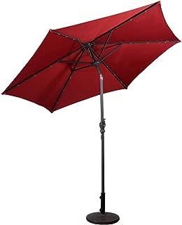Giantex 9ft Market Patio Umbrella w/Solar Lights, Outdoor Table Umbrella w/Push Button Tilt and Crank, for Market Garden Beach Pool