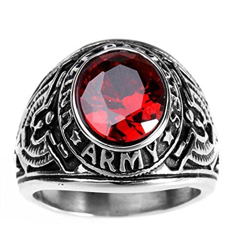HAMANY Joyería Anillo de Hombre,Acero Inoxidable con Piedra, Halcón del águila Estados Unidos Ejército,El Tamaño 22