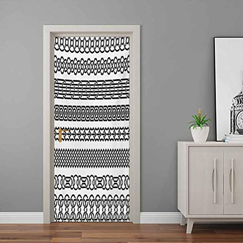 Irish Wallpaper Murals Vintage Borders in The Form of Celtic Classical Ornaments Horizontal Striped Pattern Bedroom Wallpaper Removable Vinyl Black White - 23'W x 70'H