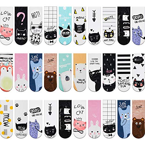 30 Pieces Magnet Magnetic Bookmarks Cute Magnet Page Markers Page Clips Bookmark for Student Office Reading Stationery (Cat)