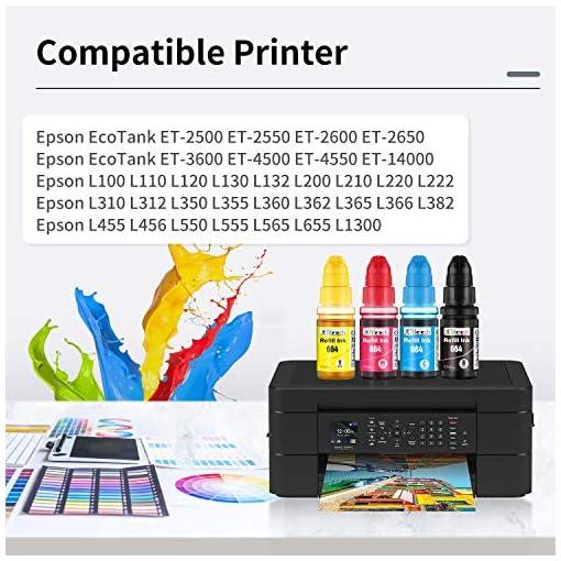 JETlifetech 664 Cartuchos de tinta Reemplazar Epson EcoTank T664 T6641 T6642 T6643 T6644, Epson 664 Botellas de tinta… 5