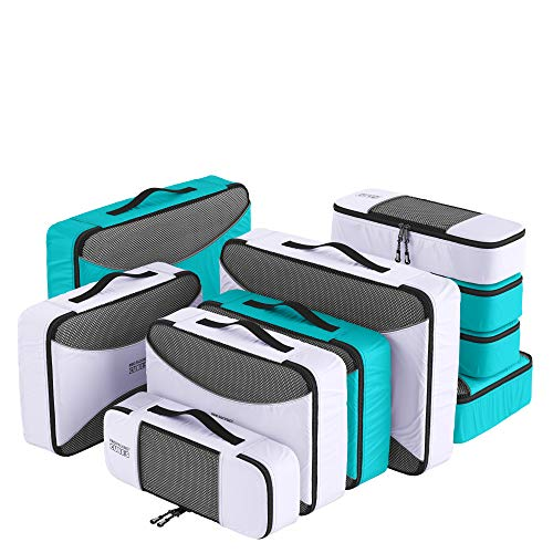 PRO Packing Cubes for Travel | 10 Piece Luggage Organizer Set | Premium Quality Travel Cubes for Packing Suitcase, Carry-on, Bags and Backpack - Aqua-White