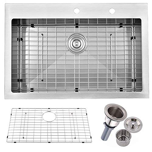 Friho 33'x 22' Inch 18 Gauge Commercial Large Topmount Drop-in Single Bowl Basin Handmade SUS304 Stainless Steel Kitchen Sink,Brushed Nickel Kitchen Sinks With Dish Grid and Basket Strainer