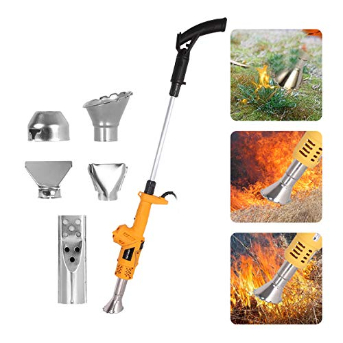 Electric Weed Burner 2M Cable 2000W Garden Gear Weed Burner Hot Air Weed Killer 5-in-1 Function Lawnmower Weeder Thermal Weeding Stick Weed Torch Barbecue Igniter, Up to 650°, 5 Nozzles Garden Tool