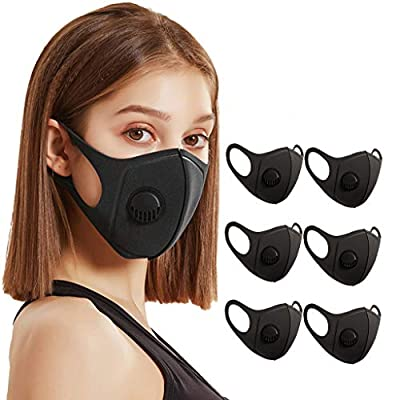 Maxhace 6Pcs New Reusable Face Bandanas with Breathable Valve,3-Layer Anti-Haze Dust Face Cloth for Adults,Black