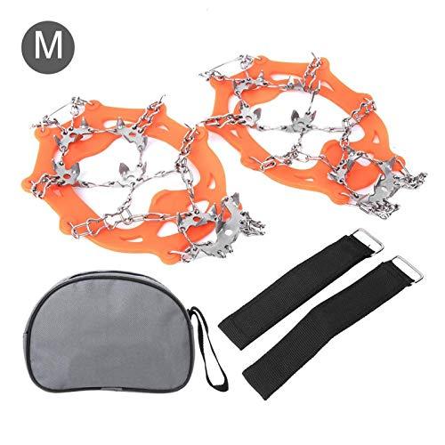 Buty wspinaczkowe raki antypoślizgowe narciarskie pokrowce na buty lodowe 19 zębów zewnętrzne pazury ze stali nierdzewnej raki wspinaczka do sportów lodowych(M, 19 teeth orange)