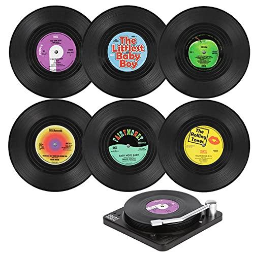 itrimaka 6 stuks retro cd vinyl reekord-onderzetters, antislip drankonderzetters, set veilige ABS-drankbekermat, vinyl…
