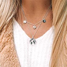 Cathercing Women Chain Pendant Delicate Simple Bar Multiple Stars Multilayer Long Choker Necklace for Women and Girls