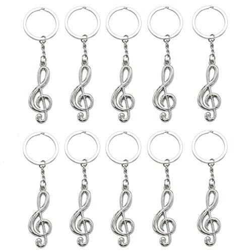 SenseYo 10 Pcs Musical Note Key Chain Metal Music Symbol G-Clef Key Ring Keychain Trinket