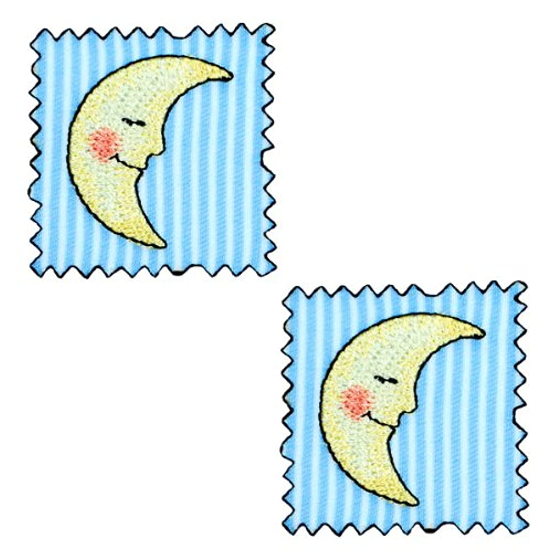 Expo Iron-on Embroidered Applique Patches, BaZooples Moon Patch, 2-Pack