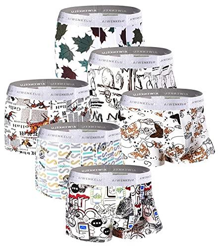 Zueauns Herren Boxershorts - Premium Eisseiden Faser Unterwäsche - Personalisierte mit Muster Drucken Unterhose Hipster Retroshorts 3-6er Pack