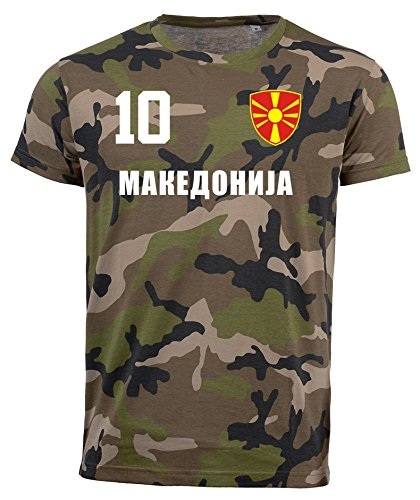 aprom Mazedonien Camouflage T-Shirt - All-10 - Trikot Army Look WM World Cup Makeaohnja (L)