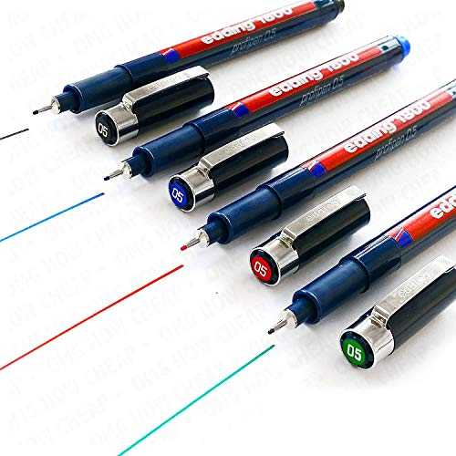 Edding 1800 Profipen Delineador con Pigmento Rotulador de Dibujo - 0.5mm Juego de 4 - Negro, Azul, Rojo, y Verde]