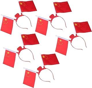KESYOO 5Pcs Chinese Flag Headband Light Up Hair Hoops LED Headband Mini Hand Flag Head Bopper National Day Party Favor(Red)