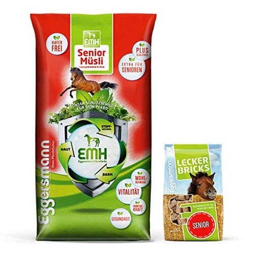 Eggersmann EMH Senior Müsli + Lecker Bricks Senior - Ideale Versorgung für ältere Pferde - 20 kg Sack & 1 kg Beutel
