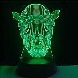Batería de Controlador táctil de luz Nocturna 7 Tipos de rinocerontes novedosos Que cambian de Color para la decoración del hogar de Navidad 3 Interruptor táctil