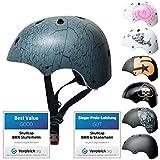 SkullCap® Kids BMX & Skate Helmet - Bicicleta Y Scooter Eléctrico, Diseño: Crack, Talla: S