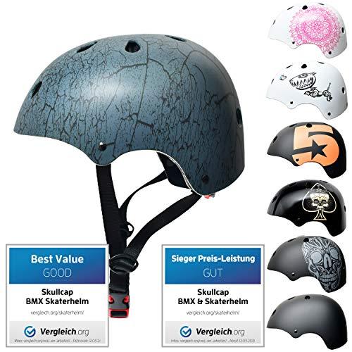 Skullcap® Skaterhelm Kinder Anthrazit Crack - Fahrradhelm Jungen ab 6 Jahre Größe S (53-55 cm) - Scoot and Ride Helmet Kids - Skater Helm für BMX Scooter Inliner Fahrrad Skateboard Laufrad