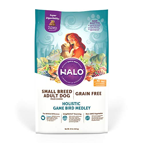 Halo Grain Free Natural Dry Dog Food - Small Breed Recipe - Premium and Holistic Whole Meat Game Bird Melody - 10 Pound Bag - Sustainably Sourced Adult Dry Dog Food - Non-GMO and Highly Digestible