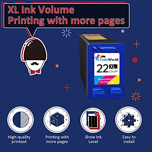 ColoWorld Remanufacturados 22 XL Tricolor Cartuchos de tinta para HP 22 XL 22XL para HP Deskjet F2120 F2280 F380 F390 F4180 F335 F375 F4180 F4190 D1460 PSC 1410 1415 Officejet 43 15 4355 Impresoras