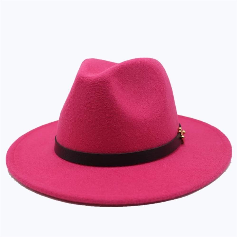 HXGAZXJQ Unisex Men Women Wool Fedora Hat with Belt Autumn Jazz Hat Winter Church Cap Fascinator Hat Size 56-58CM (Color : Rose red, Size : 56-58)