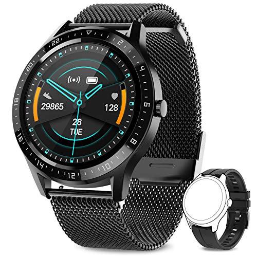 AIMIUVEISmartwatch, Orologio Fitness Uomo Cardiofrequnzimetro da Polso Contapassi e Calorie Impermeabile IP67 Cronometro Smart Watch, Activity Tracker per Android iOS Nero