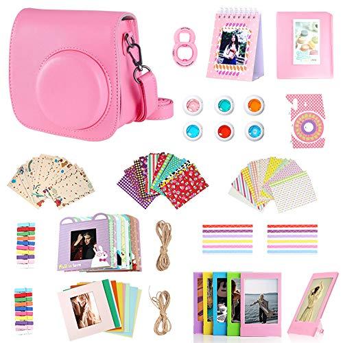 Artman 14-in-1 Instax Mini 9 Accessories Bundle Kit for Fujifilm Instax Mini 9/8/8+ Include Camera Case/Album/Selfie Lens/Filters/Table Frames/Wall Hanging Frame/Stickers/Film Calendar(Flamingo Pink)