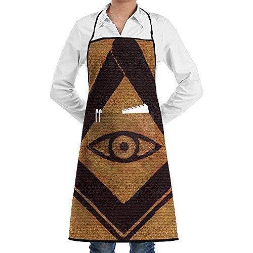 NAN TIAO Freimaurer-Freimaurer-Symbole-Pierre-Blanchard Einstellbare Latzschürze für Küche BBQ Kochen Frauen Männer Koch mit Taschen