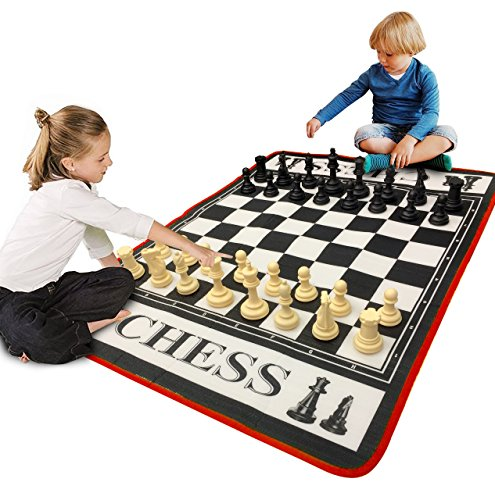 EasyGo Giant 3' X 4' Mat Chess Game – Indoor Outdoor Family Game – Lawn Game –Piece Range from 3-6' Tall