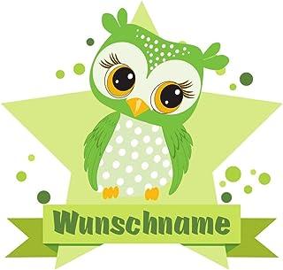 Samunshi® Grüne Eule Aufkleber mit Namen Autoaufkleber Namensaufkleber Kinder in 7 Größen (15x13,1cm Mehrfarbig)