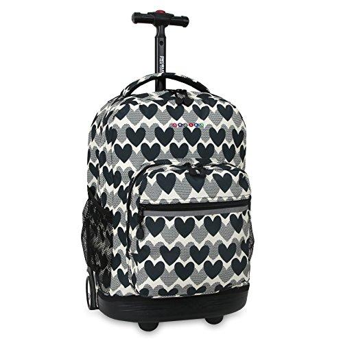 J World New York Sunrise Rolling Backpack Backpack, HEART DOT