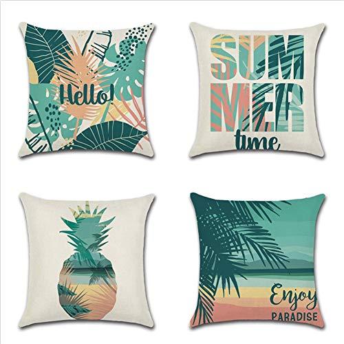 JOTOM Sommer Ananas Kissenbezug, Kissenbezüge in Baumwollen und Leinenoptik Bedruckte Kissenhüllen mit Ananasmustern Dekokissenbezüge für Sofa Bett Auto 45x45cm 4er Set