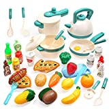 CUTE STONE 40PCS Kids Kitchen Pretend Play Toys,Play Cooking Set with Pots and Pans,Cookware,Cutting Play Food,Vegetables,Fruits and Other Utensils Accessories,Great Gift for Toddles Infant Boys Girls