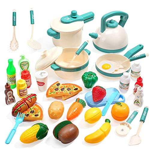 CUTE STONE 40PCS Kids Kitchen Pretend Play Toys,Play Cooking Set with Pots and Pans,Cookware,Cutting Play Food,Vegetables,Fruits and Other Utensils...