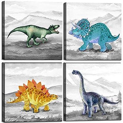 Dinosaur Bedroom Decor Wall Art Prints Gift Idea for Nursery and Kids Room Canvas Wall Art Watercolor Dinosaur Boys Room Decor Framed Wall Art 4 Pieces Canvas Art Print Gallery Wrapped Wall Art Prints Teen Room Décor