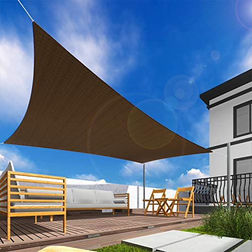 Windscreen4less Sun Shade Sail for Outdoor Patio Backyard UV Block Awning with Steel D-Rings 10ft x 10ft Brown Coffee Square - Custom